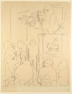 The Outpouring of The Holy Spirit  - Pencil Drawing on Paper by G. Grosz - 1927