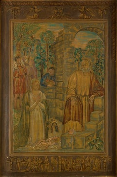 Visit Of The Shepherds - Original Oil on Canvas by Carlo Socrate - 1936