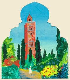 La Koutoubia Marrakech - Original Oil on Cardboard by Jean Boudal - 1950s