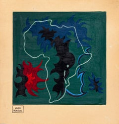 Africa - Original Oil on Paper by Jean Boudal - 1950s