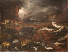 17th Century Oil Painting Still Life: Turtles & Fish with a Ship in Stormy Seas