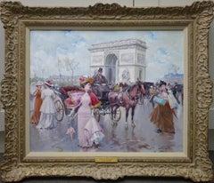 L'arc de Triomphe - Post Impressionist Oil Painting of Belle Epoque Paris