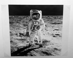 Buzz Aldrin's Sun Visor Reflects Neil Armstrong and Apollo 11, Vintage Photo