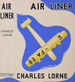 Art Deco gouache original artwork 1937 Air Liner book jacket aviation C. Lorne