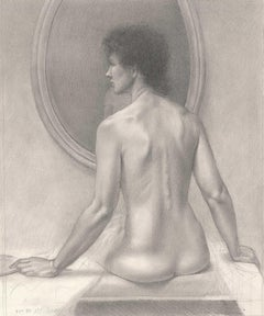 Woman With Mirror (Nude woman looks to the left as she sits in front of mirror)