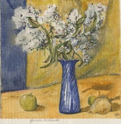 White Flowers in Blue Vase, Apples / Yellow and blue background