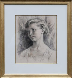 Portrait of a Lady - British Art Deco 30's drawing young woman good provenance