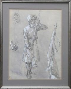 Portrait of a Sikh Soldier - Australian art Anzac WWI drawing Gallipoli flag