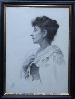 Portrait of a Lady -British Victorian art female portrait realist pencil drawing