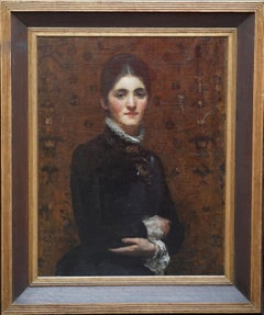 Portrait of a Lady - British Victorian art female portrait oil painting