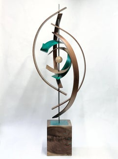 Mid-Century Modern Inspired, Wood Metal Sculpture, Original Contemporary Art