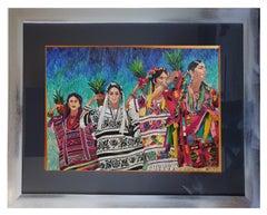 El Baile de la Piña - Natural Dyed Straw - Mexican Fine Art  Cactus Fine Art