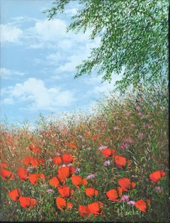 Fleurs des champs, oil painting on canvas, size with frame 32.4 x40.4 cm