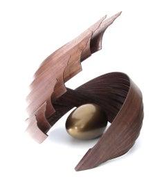 Inner Fragility (wood walnut bronze bird nest abstract art sculpture pedestal)