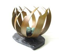 The Nest (bronze bird abstract native zen sculpture pedestal fine art eggs)