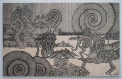 Journey #39 (monochrome grey pen drawing wood detailed oriental dansaekhwa)