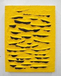 Bee (Lucio Fontana slash oil painting abstract contemporary impasto yellow art)