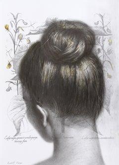 Abutilon  Auicennae (drawing paper vintage girl chignon portrait hair bun neck)