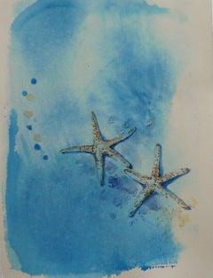 2 Sea Stars, Abstract Painting