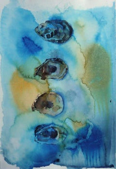 4 Oyster Shells, Abstract Painting