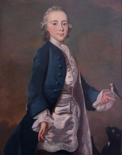 English 18th century portrait of Master Wanley with pet bird and cat