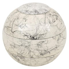 Abstract Marbleized Wooden Orb Sculpture, Italy, 1980s