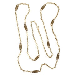 Accessocraft NYC Long Antiqued Gold Tone Flower Link Chain Necklace circa 1970s