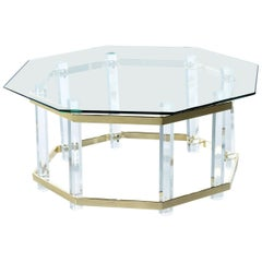 Acrylic Lucite Glass and Brass Coffee Table 1970s Hollywood Regency