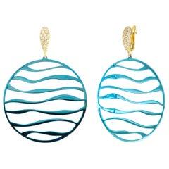 Aenea White Diamonds 18 Karat Yellow Gold Super Light Blue Titanium Earrings
