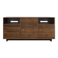 Aero Media Console for Sonos with Vinyl Record Storage in Solid Natural Walnut