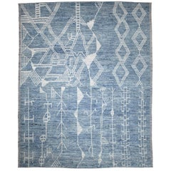 Afghan Rug in Moroccan Design with Ivory Tribal Patterns on Blue Field