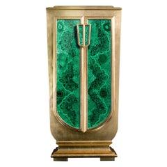 Agresti La Dama Oro Armored Jewelry Armoire Gold and Malachite Finish