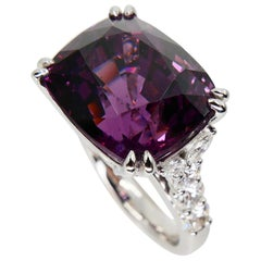 AIGS Certified 15.22 Carat Natural Spinel & Diamond Cocktail Ring, Burma No Heat