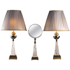 Aiko Collection Hand Mirror and Pair of Rock Crystal Lamps by Alexandre Vossion