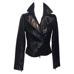 Alaia Black Snakeskin Cropped Jacket, Size 38