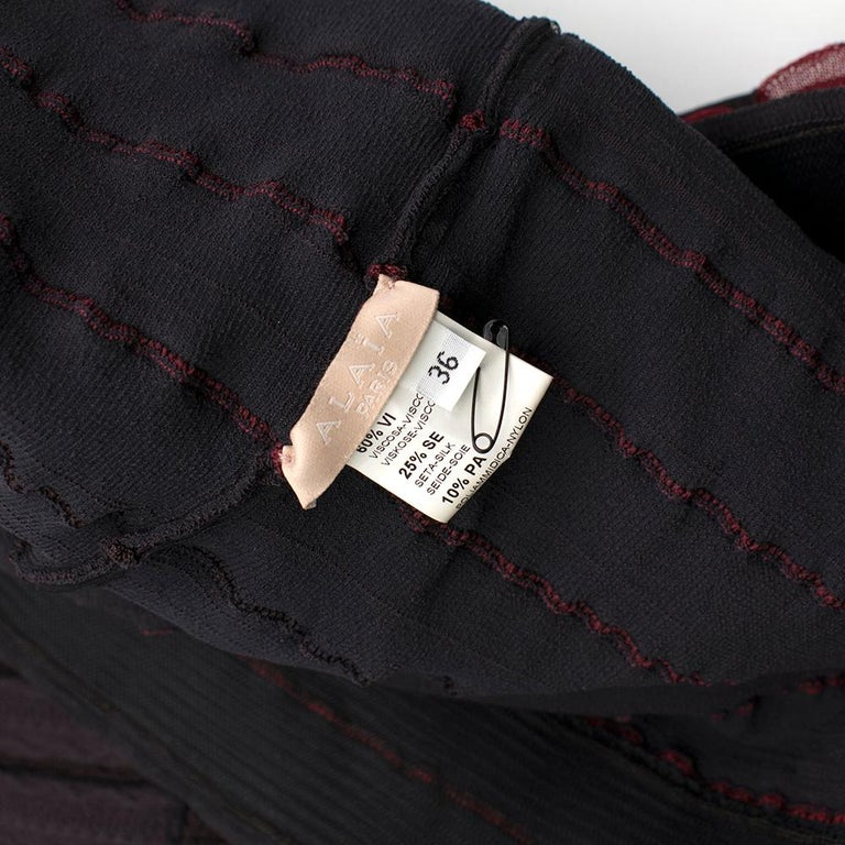 Alaia Brown Stretch Knit Mini Ruffled Mini Dress XS 36 For Sale 5