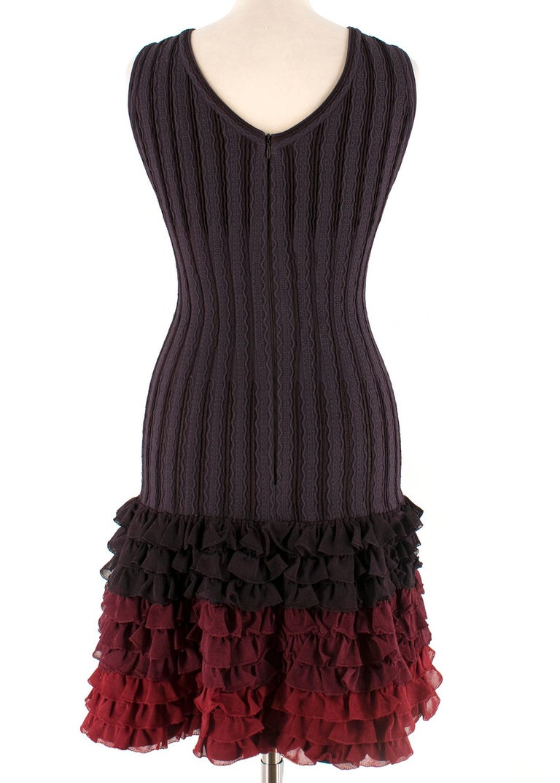 Black Alaia Brown Stretch Knit Mini Ruffled Mini Dress XS 36 For Sale