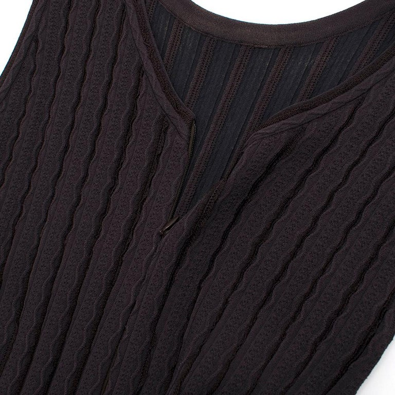 Alaia Brown Stretch Knit Mini Ruffled Mini Dress XS 36 In Excellent Condition For Sale In London, GB