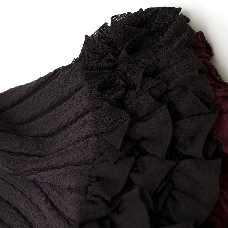 Alaia Brown Stretch Knit Mini Ruffled Mini Dress XS 36 For Sale 1