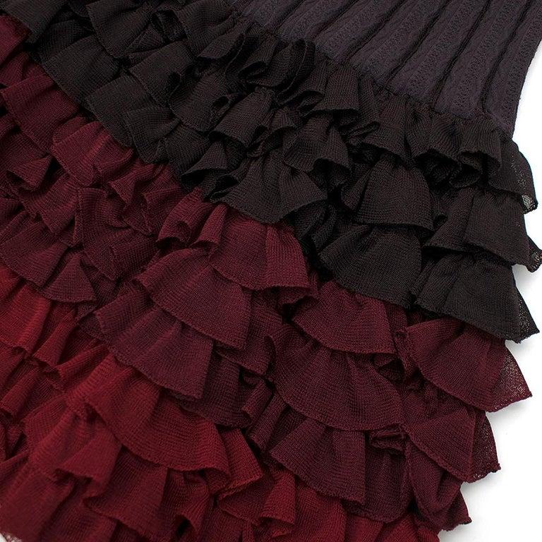 Alaia Brown Stretch Knit Mini Ruffled Mini Dress XS 36 For Sale 2