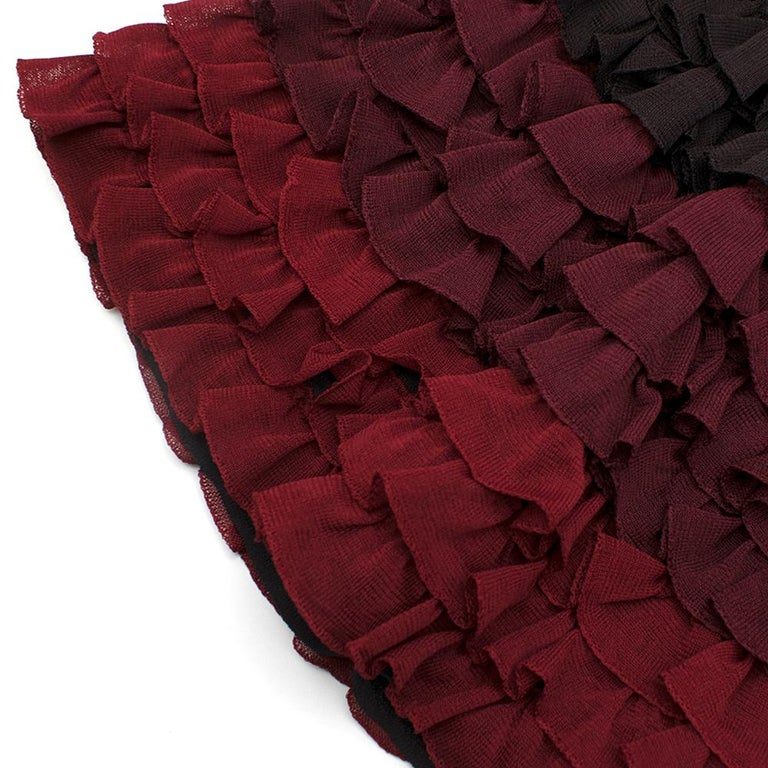 Alaia Brown Stretch Knit Mini Ruffled Mini Dress XS 36 For Sale 3