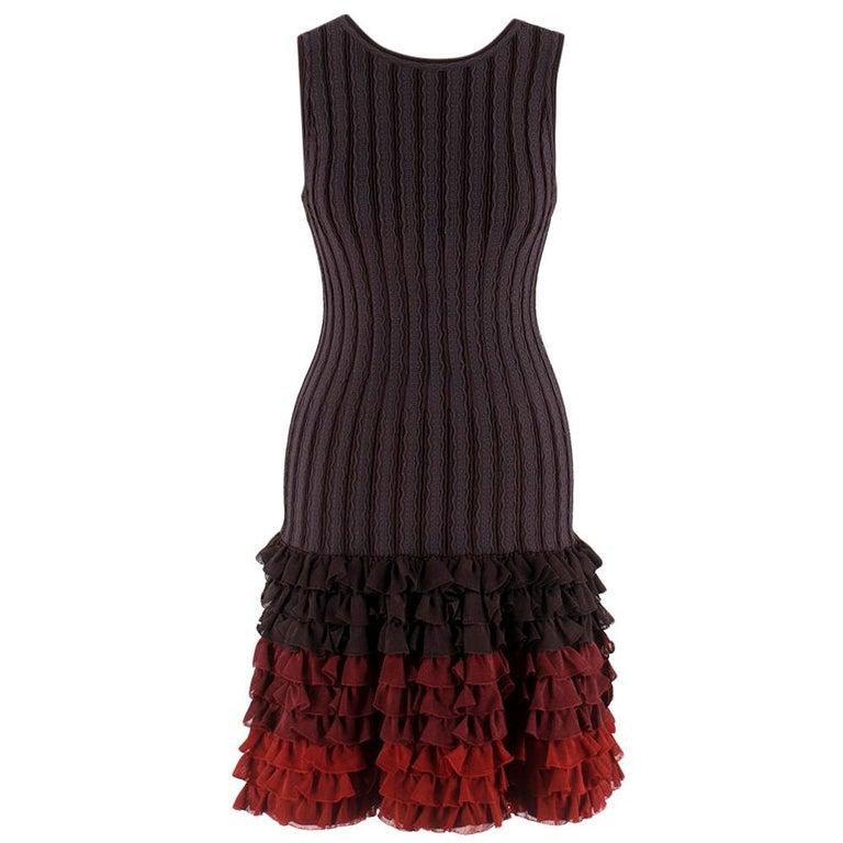 Alaia Brown Stretch Knit Mini Ruffled Mini Dress XS 36 For Sale