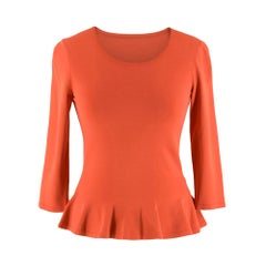 Alaia Coral Peplum Knit Top IT 38