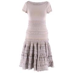 Alaia Grey Fit & Flare Ruffle Trim Dress XS 36