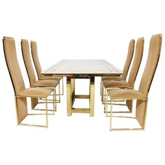 Alain Delon Travertine, Brass and Gold Dining Set, France, 1980s
