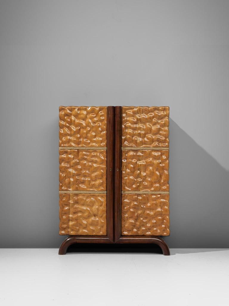 Italian Aldo Tura Bar Cabinet in Cherry For Sale