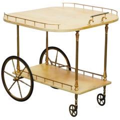 Aldo Tura Lacquered Goatskin and Brass Italian Double Drop-Leaf Bar Cart, Signed