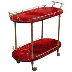 Aldo Tura Oval Bar Cart Red Goatskin, 1960s
