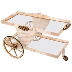 Aldo Tura Parchment Bar Cart with Brass Cornucopia