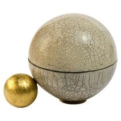 """Aldus, """"Gaia"""" Box, Raku Ceramic, Bronze Decoration, Gold Plated, Contemporary"""